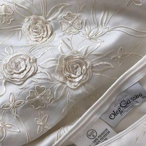 Oleg Cassini ivory satin princess wedding dress
